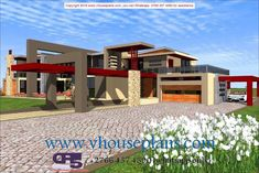 Overall Dimensions- x m Bathrooms- 2 Car Garage Area- Square meters 6 Bedroom House Plans, Best House Plans, Dream Homes, My Dream Home, House Plans South Africa, Building Costs, Guest Toilet, Bungalow House Design, Guest Bed