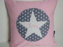 Kissen Vichy-Karo rosa  mit Stern und Name