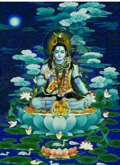 Lord Shiva as adiyogi in creative art painting Shiva Parvati Images, Shiva Hindu, Shiva Art, Shiva Shakti, Hindu Art, Shiva Yoga, Hindu Statues, Lord Shiva Hd Images, Lord Shiva Family