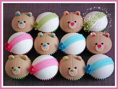 Very cute birthday bear cupcakes for a little girl having a bear-making party! Cupcakes Fondant, Bear Cupcakes, Cute Cupcakes, Cupcake Cookies, Cupcake Toppers, Cookie Cakes, Candy Cakes, Girl Cupcakes, Alcohol Cake