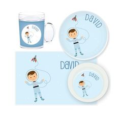 Astronaut Personalised Kids Mealtime Set $32.95 - $39.95 #sweetcreations #baby #toddlers #kids #personalised Your Child, Children, Kids, Astronaut, Sweet, Toddlers, Fun, Baby, Young Children