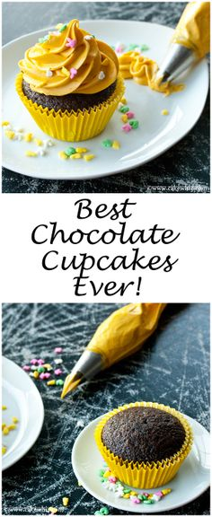 BEST CHOCOLATE CUPCAKES everrrr! And the recipe is so versatile that you can use it to make a perfect cake as well! From cakewhiz.com