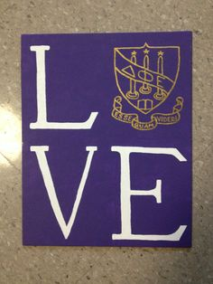 LOVE canvas with Delta Phi Epsilon crest for my little