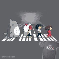 """Ghibli Road"" by ramyb. Ghibli characters walking across Abbey Road"