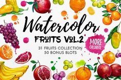 Watercolor Fruits Vol. 2 by iGRAPHOBIA on @creativemarket