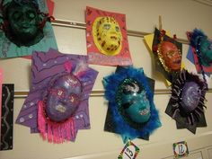 In Art class, graders learned about the celebration of Mardi Gras. Mardi Gras, which is a carnival, is celebrated all over the w. Art Education Lessons, Art Lessons For Kids, Mardi Gras, Crafts For Kids, Arts And Crafts, 6th Grade Art, Art Classroom, Classroom Ideas, Arts Ed