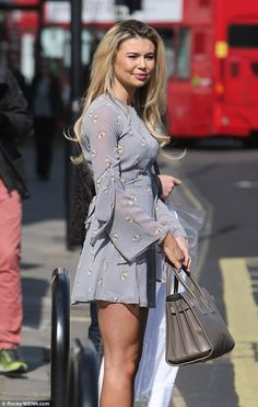 Stunning: Georgia Toffolo also made a glamorous arrival in a eye-wateringly short chiffon dress, patterned with pretty white butterflies Top Celebrities, Celebs, White Lace Mini Dress, Holiday Wardrobe, 2000s Fashion, Boho Dress, Chiffon Dress, Pretty Dresses, Dress To Impress