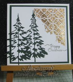 Silverwolf Cards. TH Thinlits Woodlands and stencil Latticework.