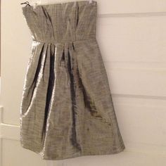 Brand new silver lame dress NWT Strapless lame dress with mesh elastic panel in the back with zipper. Dressy & sexy Alice & olivia Dresses Strapless