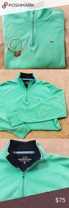 Vineyard Vines Mint Pullover Beautiful mint color! Boys XL, fits perfectly as a women's xs or xxs. Excellent condition.  Bracelets not included. perfect for layering with a collared shirt. Perfect mint color !!! Perfect for Christmas present!! Vineyard Vines Tops Sweatshirts & Hoodies