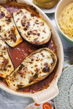 Stuffed Eggplant with chicken or pork Italian sausage. ♥ The Little Kitchen