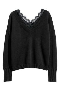 Lace-trimmed jumper in a soft, fine knit with a V-neck front and back, dropped shoulders, long sleeves and ribbing around the neckline, cuffs and hem. Alternative Outfits, Alternative Mode, Alternative Fashion, Grunge Outfits, Fashion Outfits, Fashion Tips, Look Cool, Aesthetic Clothes, Ideias Fashion