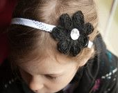 Hockey lace headband for a little girl :)