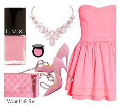 """""""Wear Pink"""" by ladyshwalla ❤ liked on Polyvore featuring Mode, Bobbi Brown Cosmetics, Chanel, Christian Louboutin, Humble Chic, LVX, Origins und IWearPinkFor"""