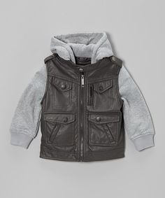Loving this Charcoal Four-Pocket Zip-Up Jacket - Infant, Toddler & Boys on #zulily! #zulilyfinds