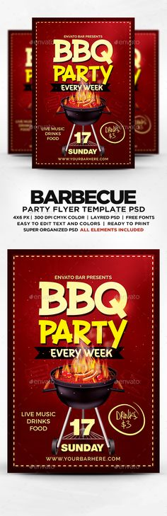 Bbq Party Flyer Template  Party Flyer Flyer Template And Template