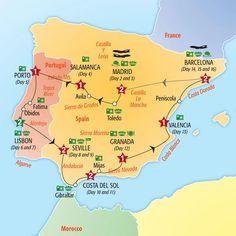 Spain and Portugal road trip; drive through Europe; Portugal Vacation, Portugal Travel, Spain Travel, Portugal Trip, Vacation In Spain, Map Of Spain, Spain And Portugal, Backpacking Spain, Road Trip Map