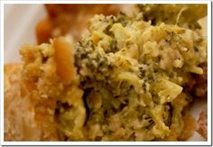 RITZ BROCCOLI CASSEROLE 3 pkg. (10 oz. each) frozen chopped broccoli, thawed, drained, 16 oz VELVEETA, cut into large cubes, 2 sleeves RITZ Crackers, coarsely crushed and 1 and 1/2 sticks butter. Melt velveeta and 1 stick butter on stovetop. Mix crushed crackers with 1/2 stick butter, melted. Layer 1/2 broccoli in baking dish and cover with 1/2 velveeta mixture and 1/2 cracker mixture. Repeat. Bake 30 min at 350.