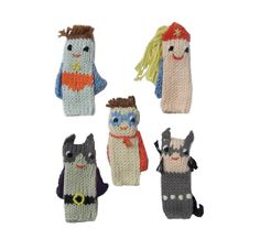 Blabla Knitted Finger Puppets Super Hero Set Blabla Knitted Finger Puppets Super Hero Set is the perfect present to bring a few favourite children's bedtime Pet Toys, Kids Toys, Create Your Own Story, Marionette, Creative Play, Knitting Designs, Little Ones, Hand Knitting, Plush