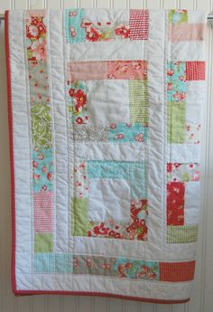 Baby Quilt - Moda Ruby - Patchwork Quilt - Baby Blanket - Modern Baby Quilt - Quilted Blanket. $100.00, via Etsy.