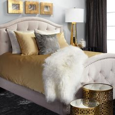 find this pin and more on beautiful bedrooms graygold and white accents bedroom decor - White And Gold Bedroom Ideas