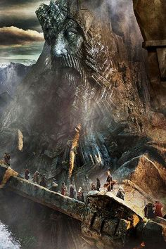 Erebor, climbing the staircase to the hidden door way that will appear on the last light of Durin's day.: