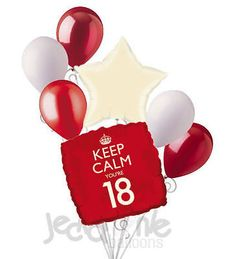 7pc Red Keep Calm You're Only 18 Happy Birthday Balloon Bouquet Party Decoration