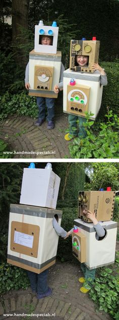 Robots of cardboard boxes! Fun project to do with children. Photo by ConnyJoanna.