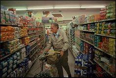 Charles Bukowski in a supermarket in San Pedro, California (circa 1990's)