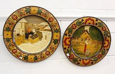 Buy online, view images and see past prices for A pair of late 19th Century Russian or East European painted and pokerwork wooden dishes, one depicting street vendors in a snowy landscape the other with a girl in a farmyard, within floral borders.. Invaluable is the world's largest marketplace for art, antiques, and collectibles.