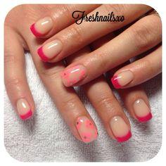 Hot pink tips   nude gel   flower nails   spring nails