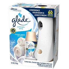 Glade Automatic Spray Holder and Clean Linen Refill Starter Kit, Battery-Operated Holder for Automatic Spray Refill, Up to 60 Days of Freshness, oz, 1 oz Refill (Packaging May Vary) - Cat store galore Listerine Foot Soak, Amazon Subscribe And Save, Aerosoles, Home Air Fresheners, Home Fragrances, Battery Operated, Starter Kit, Cool Things To Buy, The Unit