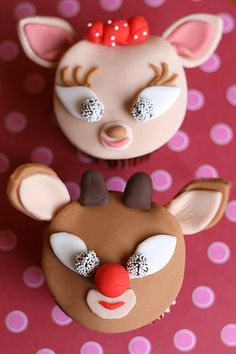 Clarice and Rudolph the red nose reindeer holiday cupcakes