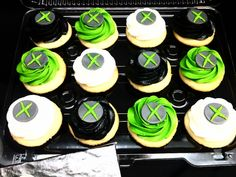Green, black and white Xbox cupcakes