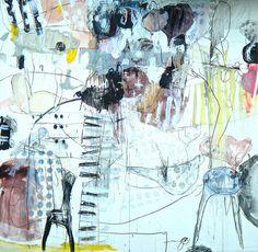 Syu no nakabi niha (2009) Oil on canvas, pigment, ink, charcoal 1940x1820x60mm by mayakonakamura, via Flickr