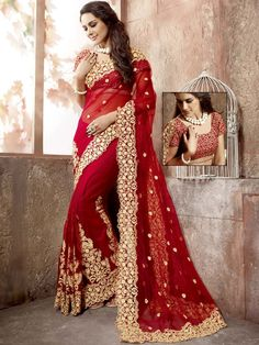 Image result for red colour dress  saree photo