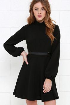 Got the Notion Black Long Sleeve Dress