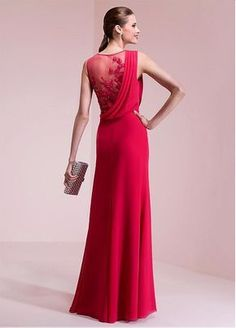 Buy discount Attractive Chiffon Jewel Neckline A-line Prom Dresses With Lace Appliques at Dressilyme.com