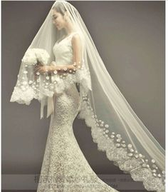 Bridal bouquet on pinterest bridal bouquets wedding for Long veils for wedding dresses