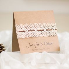 affordable DIY vintage rustic lace folded wedding invitations EWLS044 as low as $2.19