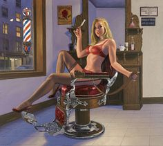 Shave and a Haircut, pin up, Greg Hildebrandt