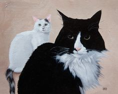 Cats in Art and Illustration: Internet Meme Cat Henri Le Chat Noir and his nemesis, L'Imbecile Blanc.