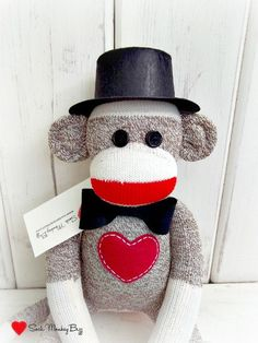 Sock Monkey with Bowtie and Top Hat Groom Doll