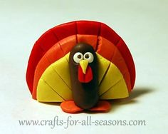 A little turkey made of polymer clay.  Step by step tutorial from Crafts For All Seasons.