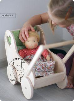 Коляска для куклы из дерева - бежевый,коляска из дерева,коляска деревянная