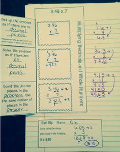 Interactive Notebook pages for multiplying decimals