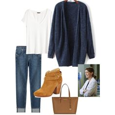 Meredith Grey by kmmurphy on Polyvore featuring H&M, 7 For All Mankind, rag & bone and Michael Kors
