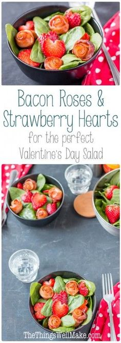 If you're looking to make the perfect Valentine's Day salad, I'll show you how to make bacon roses and strawberry hearts, perfect for dressing up your salads or garnishing your holiday plates year round!
