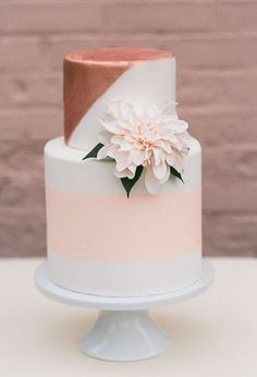 This rose gold wedding cake is sure to be a crowd pleaser