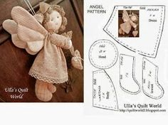 Best 11 I have made the pattern for this Quilted angel. The pattern is below. Just click the photo and it will become – SkillOfKing. Doll Crafts, Diy Doll, Sewing Crafts, Sewing Projects, Christmas Sewing, Diy Christmas Gifts, Fabric Dolls, Paper Dolls, Angel Crafts